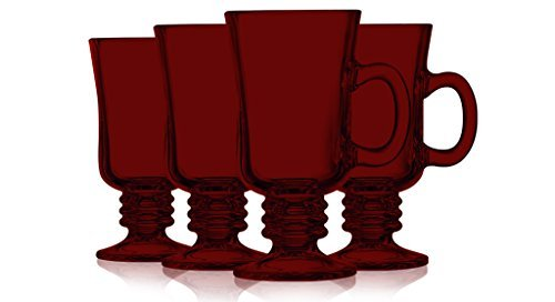 Red Irish Coffee Mug Fully Colored - 8.5 oz. set of 4- Additional Vibrant Colors Available By Table Top King 4 Irish Coffee