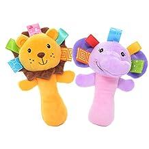 Lazada Cartoon Lion Elephant Stuffed Animal Baby Plush Hand Rattle Toys Infant Dolls