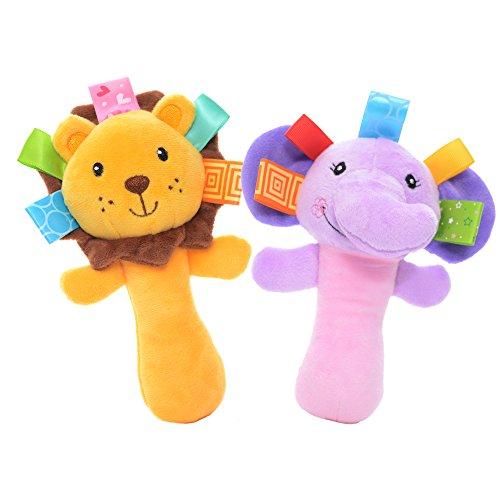 Lazada Cartoon Lion Elephant Baby Soft Plush Hand Rattle Toys Infant Dolls 2 PCS Random