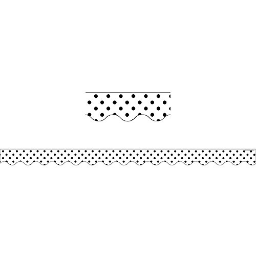 Teacher Created Resources Black Polka Dots on White Scalloped Border Trim (5593) ()