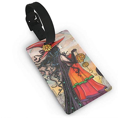 Luggage Tags Holders for Travel Luggage,Luggage Tags for Suitcases, Luggage Tag Witch Way Halloween Witch and Black Cat Fantasy Art Luggage Tag Suitcase Suitcase Label Bag -