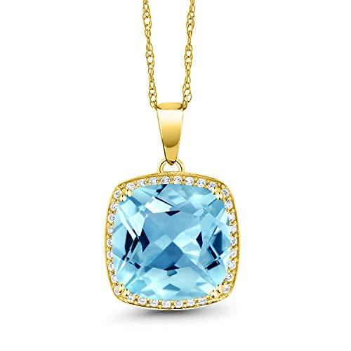 Gem Stone King 8.54 Ct Cushion Swiss Blue Topaz White Diamond 10K Yellow Gold Pendant