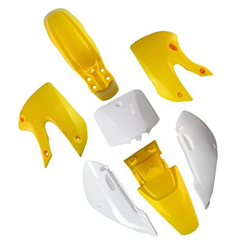 JCMOTO Plastic Fairing Kit | Complete Kawasaki Kx 65 KX65 Fender parts (4Yellow+3White) by JCMOTO