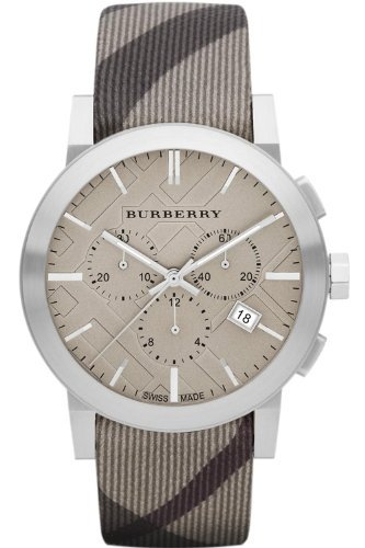Burberry Women's BU9358 The City Swiss Chronograph Smoked Check Strap Watch