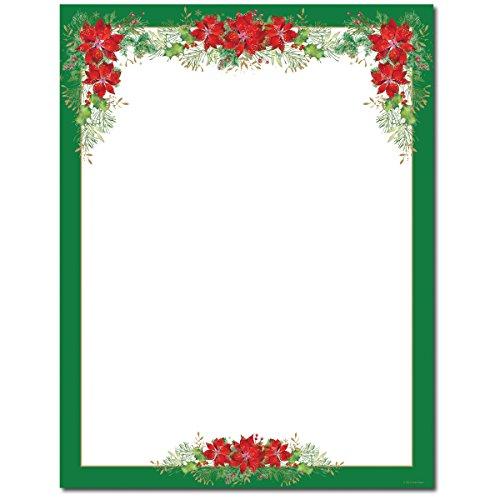 Pretty Christmas Poinsettia and Green Border Holiday Computer Printer Paper (150 Sheets) -