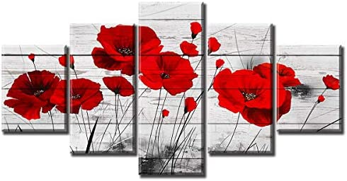 Red Poppy Flowers Wall Art White Valentine's Day Black and White Abstract Decoration Wood Grain Floral Pictures Minimalist Romantic Bedroom Office Decor Canvas Stretched and Framed Ready to Hang