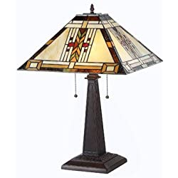 "Chloe Lighting CH33291MS16-TL2""GODE"" Tiffany-Style Mission 2 Light Table Lamp 16-Inch Shade"