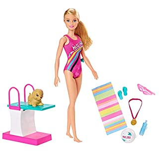Barbie Dreamhouse Adventures Swim 'n Dive Doll, 11.5-Inch, in Swimwear, with Swimming Feature, Diving Board and Puppy, Gift for 3 to 7 Year Olds, Multi, Model Number: GHK23