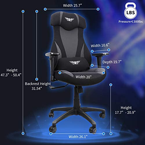 Acethrone Gaming Racing Office Chair with Mesh,Ergonomic Adjustable Swivel Chair Recliner with Lumbar Pillow and Headrest, Mobility Height and Reclining Device High Back Chair for Adults (Grey) 41klGtP3pDL