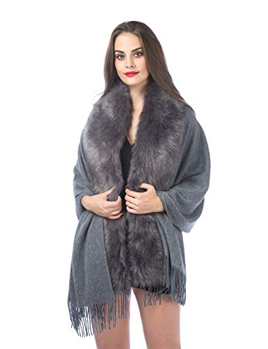 Women's Cashmere Wool Scarf Shawl Cape Coat With Luxury Faux Fox Fur Collar For Lady Bride Wedding and Party (PC-Dark Grey) - Ladies Faux Fur Collar Coat
