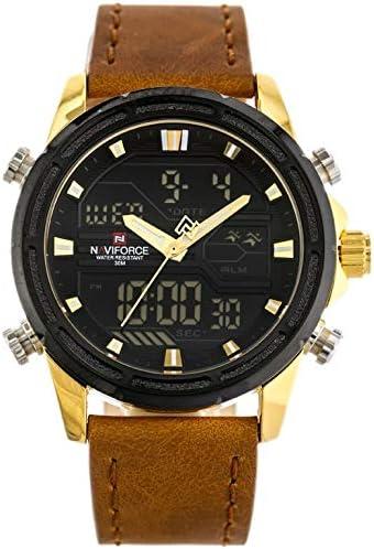 Naviforce - NF9138L - Reloj de Pulsera de Cuarzo Digital analógico de Doble Tiempo para Hombres, Correa de Cuero, Impermeable