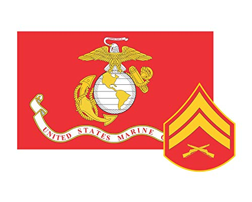 Marine Corps Flag USMC w/Cpl Rank Corporal Vinyl Decal Sticker Cars Trucks Laptops etc.3.22x5 (Red) (Full Color) ()