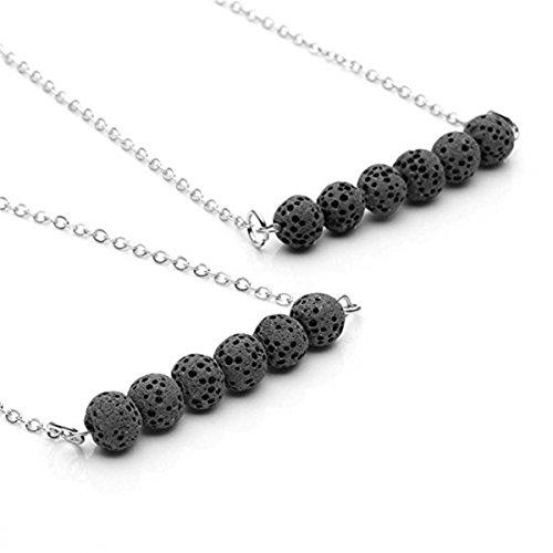 GraceAngie Black Stone Lava Bead Minimalist Essential Oil Diffuser Necklace Aromatherapy Jewelry