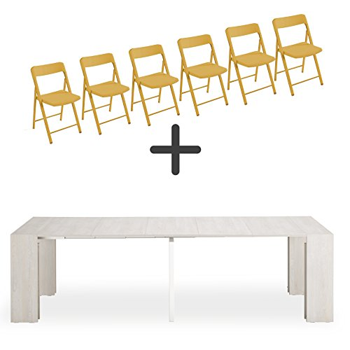 Set de 6 sillas plegables + consola extensible Space, blanco ...