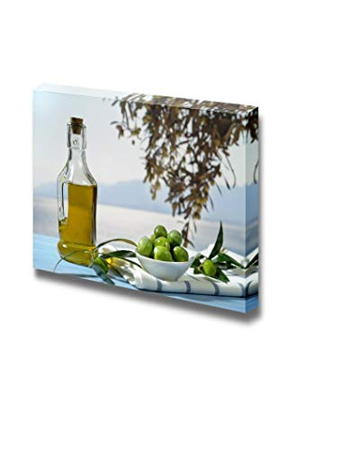 Gogobebe Canvas Wall Art Print Paintings - Olives and Olive Oil Against Mediterranean Landscape - 12