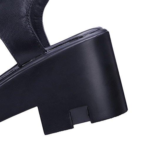 Amoonyfashion Vrouwen Gesp Open Teen Hoge Hakken Lederen Handgemaakte Stevige Sandalen Zwart