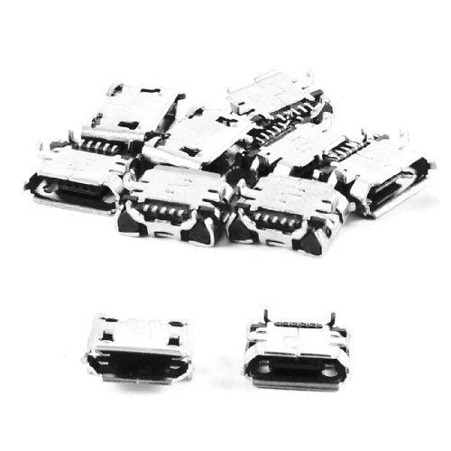 sourcingmap® 10 St Handy Ersatzteile Typ B Mikro USB Buchse Anschluss Silbrig Metall