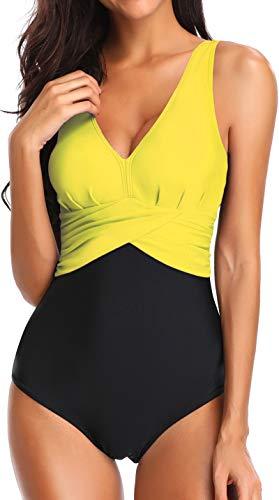 Bettydom Donna Un Pezzo Costumi da Bagno Design di Cuciture a Colori quattro stili opzionali Giallo-4