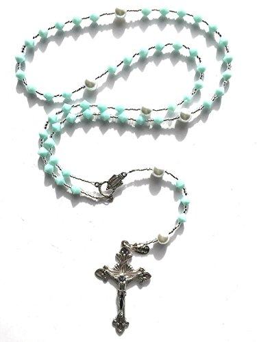 Rana Jabero Birthstone Catholic Prayer Rosary Beads Made with Genuine Crystals from Swarovski and White Glass Pearls - Keepsake Birthday Christmas Communion Baptism Gift (Mint)