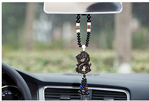 Silence Shopping Peach Wood Dragon Universal Tibetan Anti-Evil Article Automotive Interior Security and Peace Car Hanging Decor Ornament Decoration Rearview Mirror Glass Peace Pendant (Dragon)