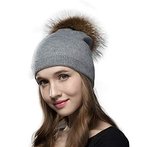 Knit Hat for Women with Soft Warm Fleece Lined, Real Raccoon Wool Beanie for Women Fur Pom Pom Winter Solid Cashmere Ski Beanie Hats (Grey)