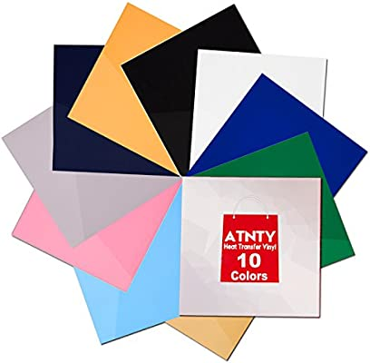 622f50e9462c ATNTY Easy to Weed Heat Transfer Vinyl HTV for T-Shirts 12 Inches by 12  Inches Sheets 10 Colors Bundle