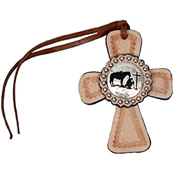 """Leather Cross Floral Tooled w//Silver Dots /& Leather Tie 11/"""" x 8/"""" New Free Ship"""