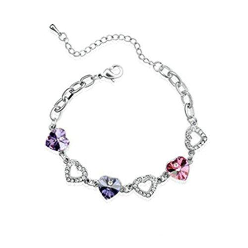 Adisaer White Gold Plated Womens BraceletLink Bracelets Heart Rose Red Blue Purple Cubic Zirconia 18CM (R2d2 Diy Costume)