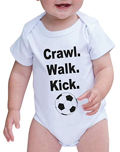 7 ate 9 Apparel Baby Boy's Crawl. Walk. Kick. Onepiece 12-18 Months Black and White