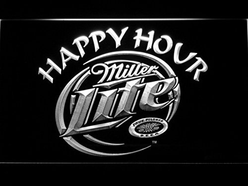 Miller Lite Happy Hour Beer Bar Pub Club LED Neon Light Sign Displays Logos Home Decor with On/Off Switch 5 Colors 2 Sizes to Choose (White, 40x30)
