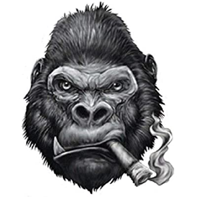 GORILLA SMOKING CIGAR BUMPER STICKER TOOLBOX STICKER LAPTOP STICKER DIE CUT: Kitchen & Dining