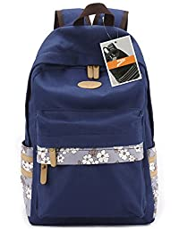 Leaper Casual Flora Canvas Laptop Backpack/School Bag/Travel Daypack (Large, Navy Blue)