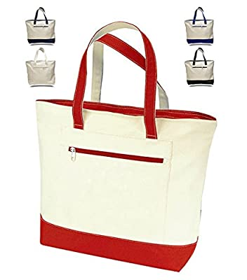 "18"" Stylish Canvas Zippered Tote Bag w/Zipper Front Pocket Pool Beach Shopping Travel Tote Bag Eco-Friendly"