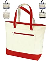 """18"""" Stylish Canvas Zippered Tote Bag w/Zipper Front Pocket Pool Beach Shopping Travel Tote Bag Eco-Friendly (1, Red)"""