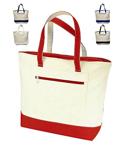 Cotton Canvas Zippered Tote - 4