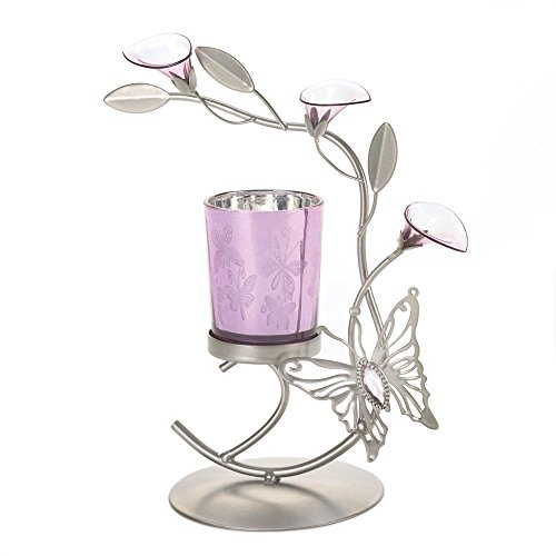 Gallery of Light Flowered Candle Holders, Iron Decorative Metal Candle Holder With Butterfly