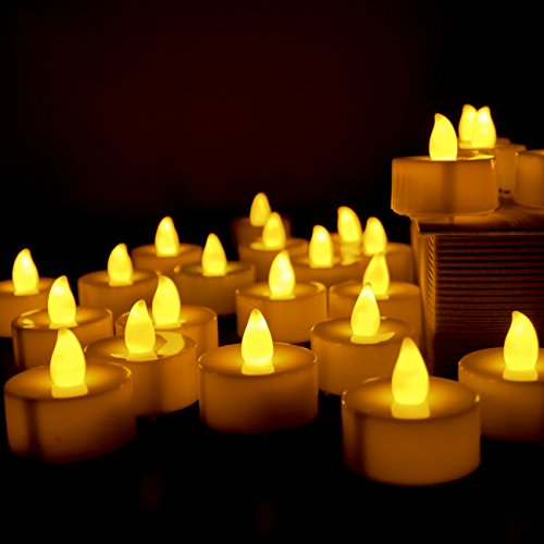 Flameless Candles, LED Tea Light Candles Long Lasting Battery Operated Electric Votive Candle (24 Pack) (Tea Lights Citronella Large)