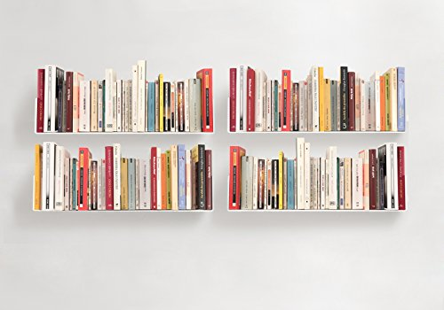 TEEbooks – BOOKSHELVES – Set of 4 – STEEL – WHITE – 23,6 x5,9 x5,9