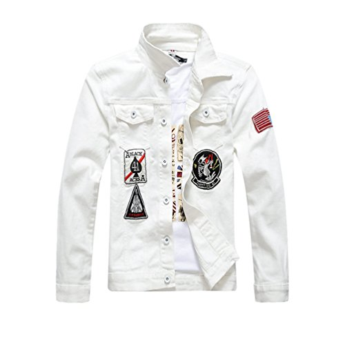 Jacket Slim Jeans Tasche Uomo Demin Bianco Lunga Con In Giacca Yiiquan Risvolto Fit Vintage Manica wAtqPP7x