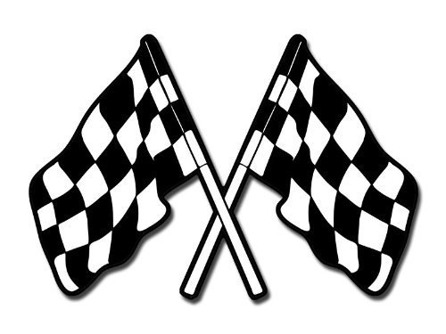 Dual Checkered Flags Sticker (decal nascar car racing)