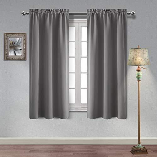 Homedocr Light Grey Blackout Curtains Thermal Insulated and Noise Reducing Room Darkening Window Curtains for Living Room and Bedroom, 42 x 63 Inches Length, 2 Drape Panels