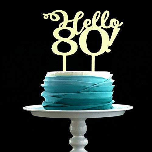 GrantParty Mirror Gold Hello 80 Cake Topper - Wedding Anniversary Birthday Party Decoration Photo Props ()