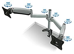 Mount-It Height Adjustable Dual Arm Computer Desk Mount Stand