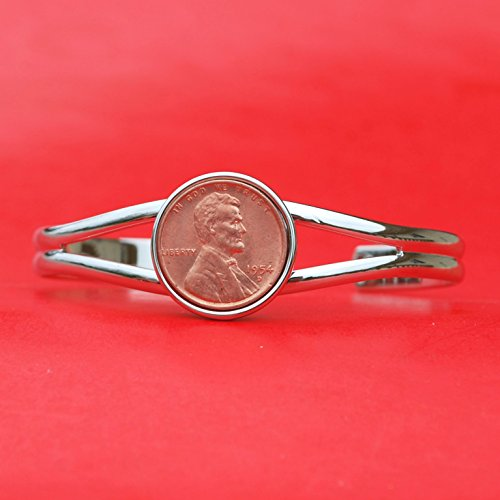US 1954 Lincoln Small Cent BU Uncirculated Coin Silver Bracelet NEW - Lucky Penny