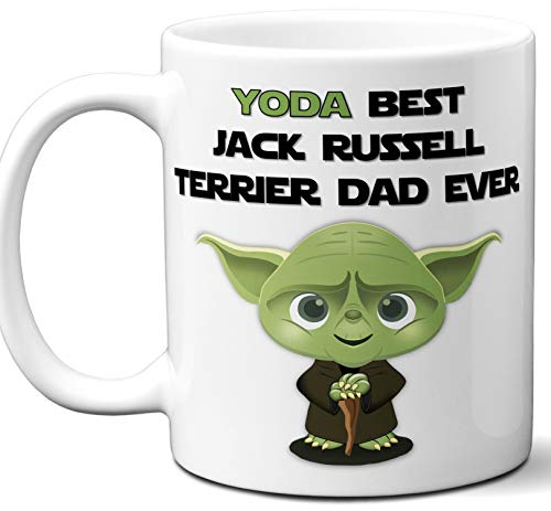 Kennels Terrier Jack Russell - Jack Russell Terrier Dad Gift For Men. Funny Coffee Mug, Tea Cup. Star Wars Yoda Dog Themed Present Dog Lover Men Girls Groomer Women Xmas Birthday Mother's Day, Father's Day.