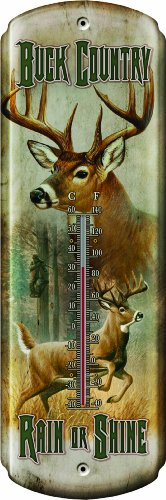 Rivers Edge Buck Country Nostalgic Tin Thermometer (Buck Bottom River)