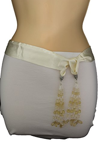TFJ Women's Fashion Silk Fabric Bow Tie Belt Beads Scarf Xs S Cream Off White (Beaded Silk Belt)