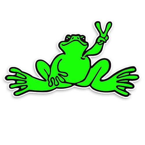 (Peace Frogs Neon Frog Sticker, Small, Green)