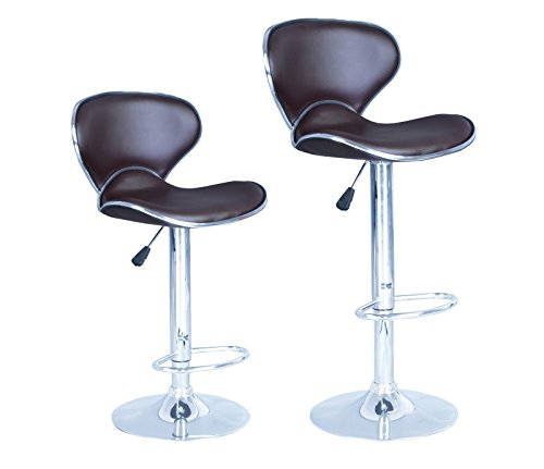 Modern Adjustable Synthetic Leather Swivel Bar Stool, Brown, Sets of 2