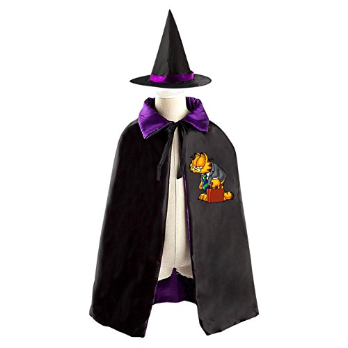 Halloween Garfield Wizard Witch Kids Childrens' Cape With Hat Party Costume Cloak purple